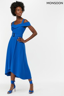 Monsoon Ladies Blue Sofia Fit & Flare Midi Dress