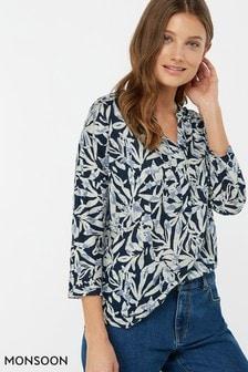 Monsoon Ladies Blue Tessa Print Linen Shirt