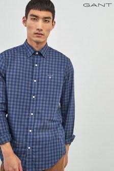 GANT Brown Tech Prep Indigo Twill Check Shirt