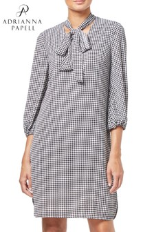 Adrianna Papell Black Houndstooth Chiffon Shift Dress