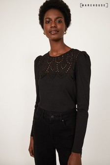 Warehouse Black Embroidered Lace Yoke Top