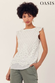 Oasis White Deco Lace Shell Top