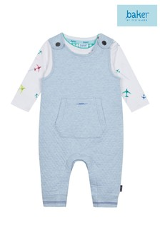 baker by Ted Baker Baby Boy Grey Dungaree Set