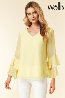 Wallis Lemon Ruffle Frill Sleeve Top
