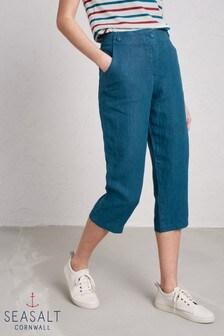 Seasalt Mid Teal Brawn Point Crop Trouser