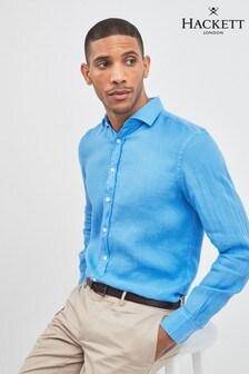 Hackett Blue Garment Dyed Linen Shirt