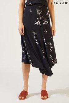 Jigsaw Black Petal Fragments Midi Skirt