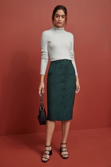 Sharkskin Textured Pencil Skirt