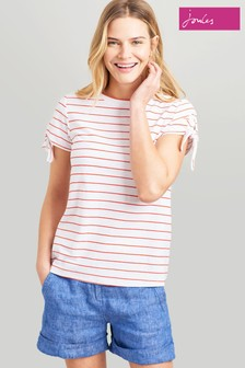 Joules Red Tiggy Tie Sleeve Jersey Top