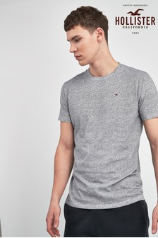 Hollister Grey Short Sleeve Logo Crew