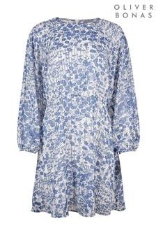 Oliver Bonas Blue Bamboo Floral Ruched Short Dress