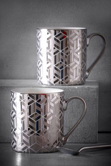 Set of 2 Metallic Mugs