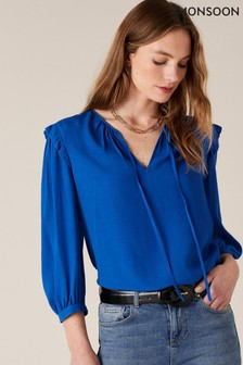 Monsoon Blue Tie Neck Top With Sustainable Viscose