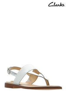 Clarks White Ellis Opal Sandal