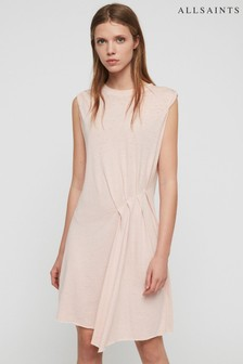 AllSaints Pale Pink Duma Gathered Dress