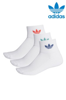adidas Originals Adults White Mid Ankle Socks Three Pack