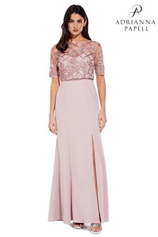 Adrianna Papell Quartz Sequin And Crepe Long Dress
