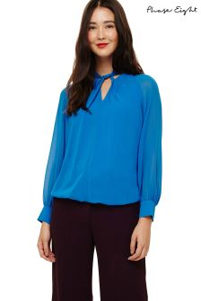 Phase Eight Blue Yas Twist Front Blouse