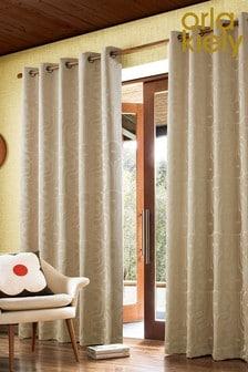 Orla Kiely Climbing Daisy Jacquard Lined Eyelet Curtains