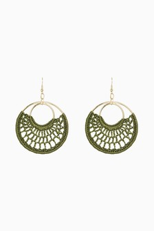 Macramé Style Circle Drop Earrings