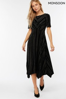 Monsoon Black Martha Stripe Velvet Midi Dress