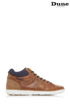 Dune London Tan Perforated Detail Hi Top Trainer