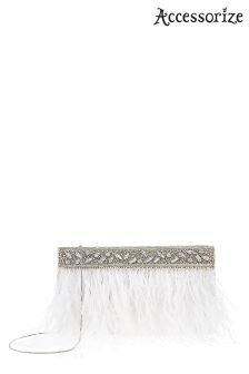Accessorize White Feather Clutch Bag