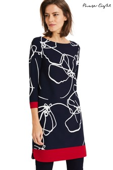 Phase Eight Blue Libby Linear Floral Dress