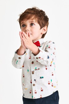 Printed Santa Shirt And Bow Tie (3mths-7yrs)