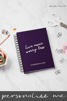 Personalised Live More Notebook by Martha Brook