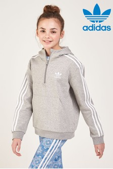 Sweat à capuche adidas Originals gris à col zippé
