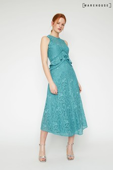 Warehouse Frill Lace Midi Dress