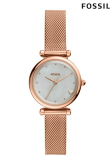 Fossil™ Rose Gold Mesh Watch