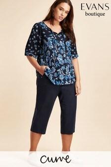 Evans Blue Curve Linen Blend Crop Trouser