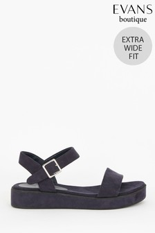 Evans Extra Wide Fit Navy Flatform Sandals