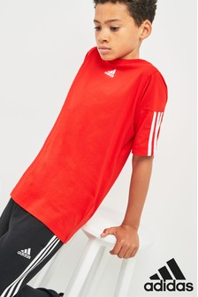 adidas Active Red 3 Stripe Tee