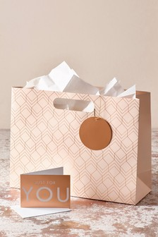 Geometric Bag, Card And Tissue Set