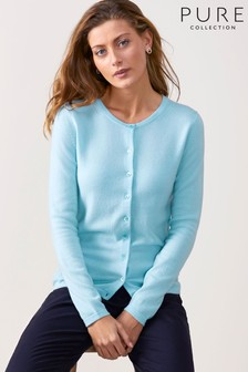 Pure Collection Blue Cashmere Crew Neck Cardigan