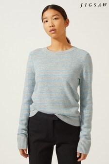 Jigsaw Grey Striped Lace Back Sweater