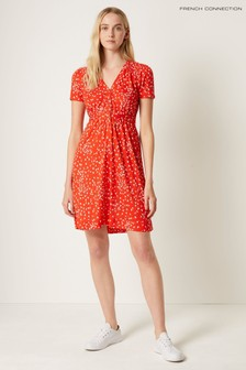 French Connection Red Komo Meadow Jersey Short Sleeve Dress