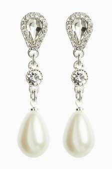 Jewel And Pearl Effect Tear Drop Earrings