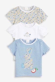 Komplet treh majic s kratkimi rokavi in motivom zajca (3 mesecev–7 let)