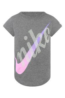 Nike Girls Grey Cotton Get Outside Logo T-Shirt