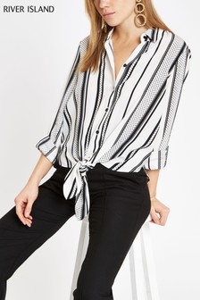 River Island Black Stripe Tie Shirt