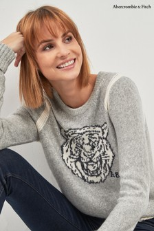 Abercrombie & Fitch Grey Knit Tiger Crew Top