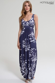 HotSquash Blue With White Flower Empire Line Maxi Dress