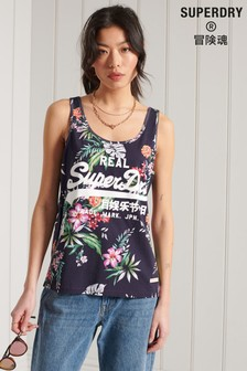 Superdry Orange Vintage Logo All Over Print Vest