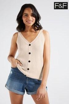 F&F Oatmeal Button Vest