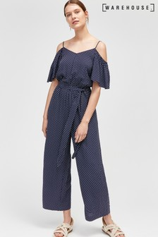 Warehouse Navy Spot Cold Shoulder Jumpsuit