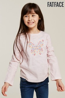 FatFace Pink Butterfly Embroidered Stripe Tee
